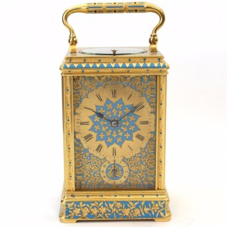 Gilt and enamel Striking Repeating Carriage Clock by Drocourt