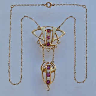 Rare Liberty & Co Necklace, Ruby & Diamond