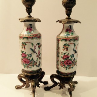 Pair Chinese famille rose Cantonese Candlesticks