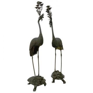Pair  Japanese Meiji Bronze Cranes.