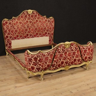 20th Century Venetian Gilt Bed Covered In Fabric