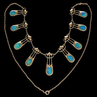 Art Nouveau Gold & Opal Necklace