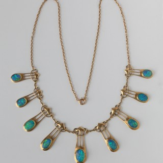 Art Nouveau Gold & Opal Necklace