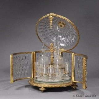 Round Crystal and Gilt-Bronze Liqueur Cabinet