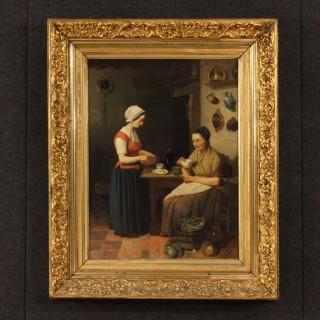 19th Century Dutch Interior Scene Painting Oil On Cardboard