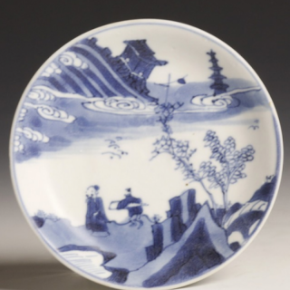 Back Kangxi white and blue saucer with landscape