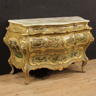 20th Century Venetian Lacquered And Painted Chest Of Drawers
