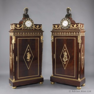 Pair of Empire Style Mahogany Side Cabinets