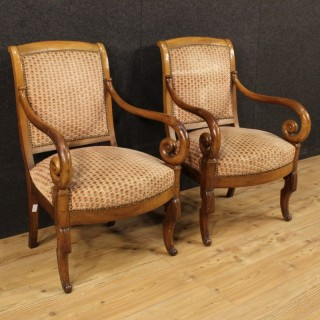 19th Century Pair Of French Armchairs Covered In Fabric