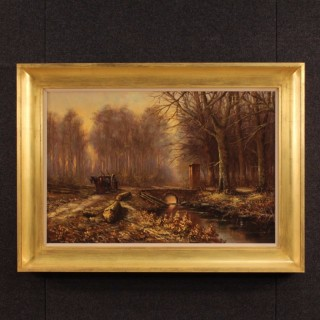 20th Century Dutch Wood Landscape Painting