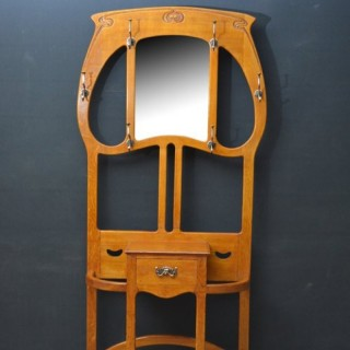 Stylish Art Nouveau Solid Oak Hall Stand