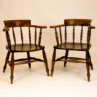Antique Pair 'Captains' Office Armchairs or Windsor  Chairs