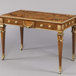 Marquetry Library Table in the Style of Robert Adam