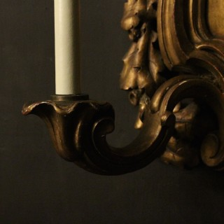 English Pair Of Giltwood Antique Wall Lights