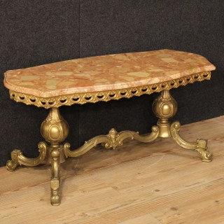 20th Century French Coffee Table In Metal With Marble Top