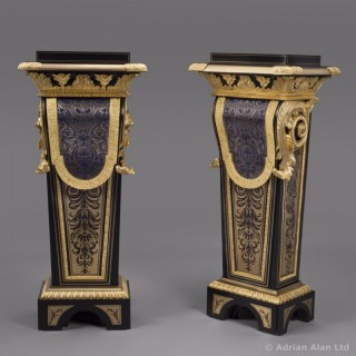 Pair of Louis Phillippe Boulle Marquetry Inlaid Pedestals