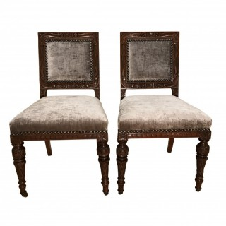 Twelve Early Victorian Oak Dining Chairs Attributed to Gillows