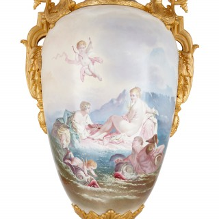 Pair of French ormolu and Sèvres porcelain antique vases