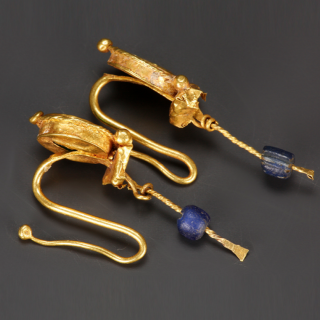 Roman Gold and Blue Earrings