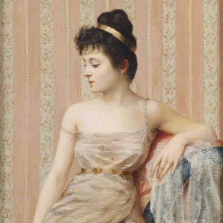 'Waiting' - Painting of a seated young woman