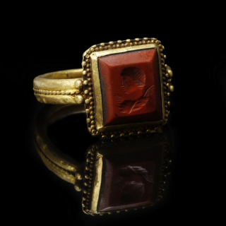 Roman Gold Ring with Jasper Intaglio