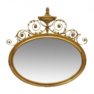 George III Style Gilt Oval Overmantel Mirror