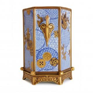 Pair of Royal Worcester porcelain hexagonal Japonisme vases