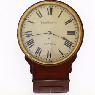 Mahogany drop Dial Fusee wall clock by Fairey, London