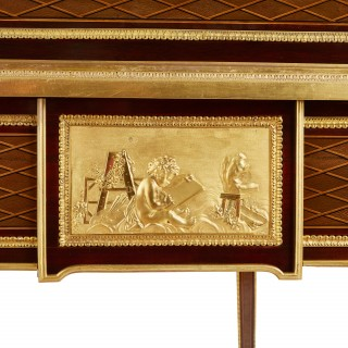 Ormolu mounted marquetry roll-top desk attributed to Bernard