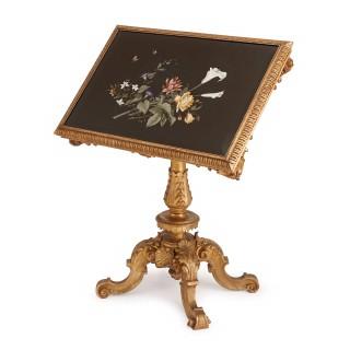 Pietra dura inlaid giltwood tilt top rectangular table
