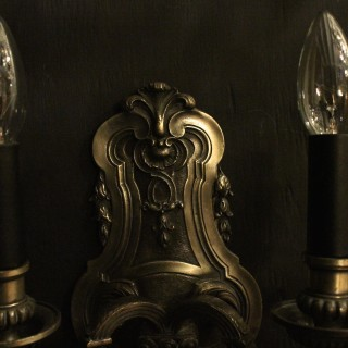 Italian Silvered Bronze Twin Antique Wall Lights