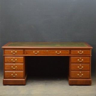 Large Victorian Mahogany Pedestal Desk