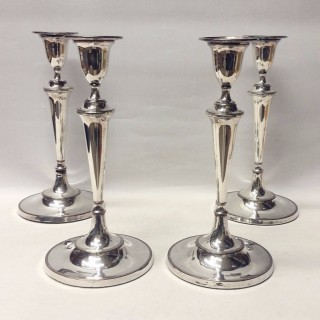 Set of 4 Georgian Candlesticks in Old Sheffield Plate