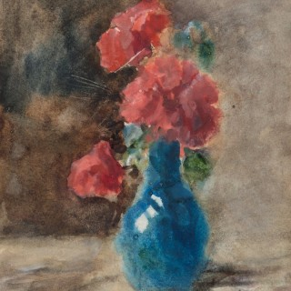 Red Flowers in a Blue Vase