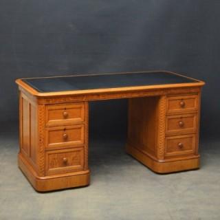 Unusual Victorian Oak Desk