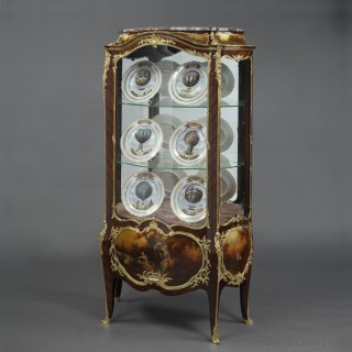 Louis XV Style Kingwood Bombé Vitrine With Vernis Martin Panels