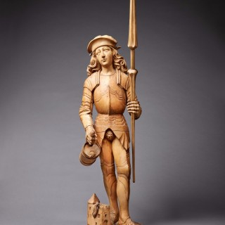 An Exceptional Gothic Wood Figure of Saint Florian, German, Early 16th Century