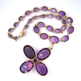 Early Victorian Amethyst Riviere Necklace Cross Pendant