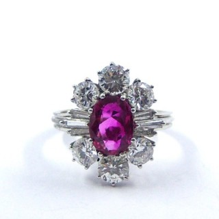 A Rare Vintage Burmese Ruby & Diamond Cluster Ring