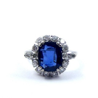 A Stunning Vintage Sapphire & Diamond Cluster Ring, By Mauboussin