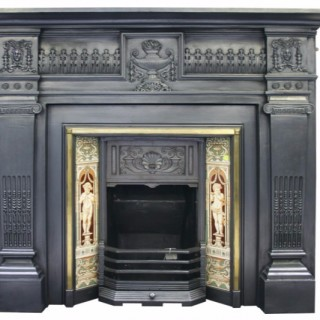 Antique 19th Century Victorian cast iron fireplace surround