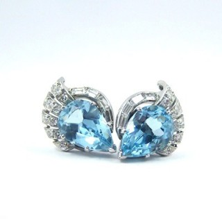 A Vintage Pair of Aquamarine & Diamond Earrings