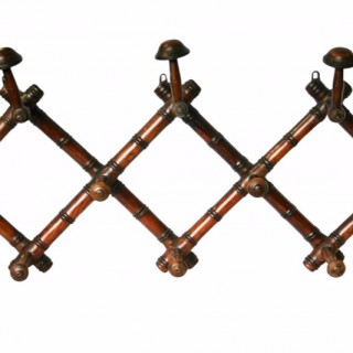 Early 20th Century French Faux-Bamboo Folding hat and coat rack