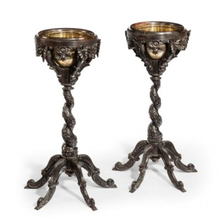 Antique pair of Anglo Indian ebony jardinières