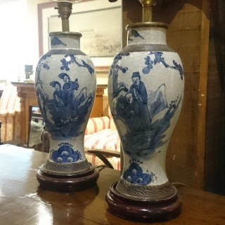 Pair of 19th Century Blue And White Table Lamps