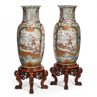 A Superb Pair Of Fukagawa Polychrome Porcelain Vases