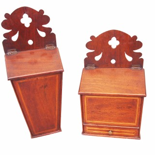Antique 18th Century Mahogany Rare Pair Hanging Boxes