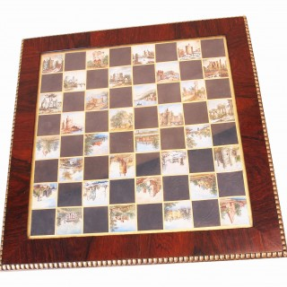 Antique Rare Regency Rosewood Chess Top Table
