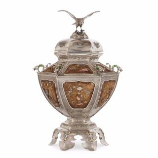 Japanese silver, enamel and Shibayama style antique koro