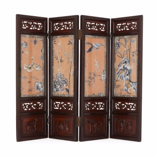Late Qing dynasty antique Chinese table screen